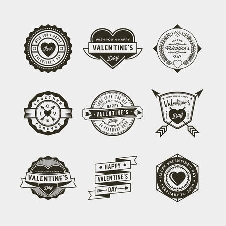 Set of Valentines day badges and stickers