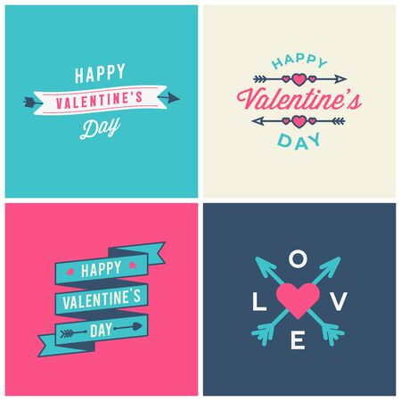 Set of Valentines day typographic greeting cards