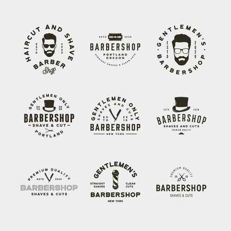 set of vintage barbershop logos. retro styled hair salon emblems. vector illustration