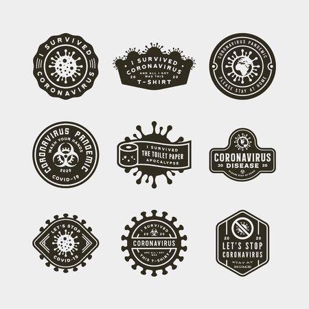 coronavirus pandemic badges. health and medical vector illustration. t-shirt design concepts. Ilustrace