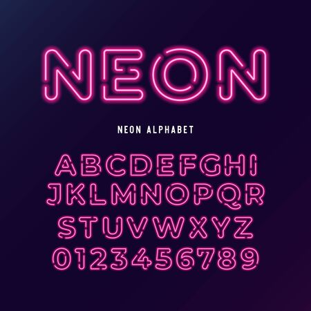 neon light modern font. vector alphabet. neon tube letters and numbers on dark background.