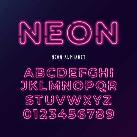 Neonlicht moderne Schrift. Vektor-Alphabet. Neonröhren-Buchstaben und Zahlen auf dunklem Hintergrund.