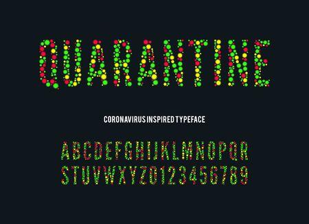 coronavirus font. vector quarantine alphabet. medical letters and numbers