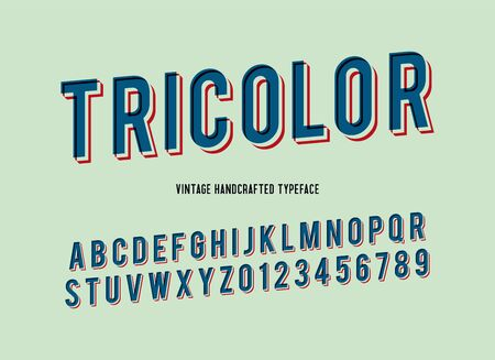 tricolor vintage handcrafted 3d alphabet. retro font. vector illustration
