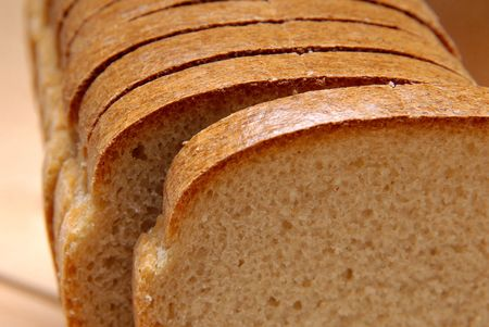 boodle: Loaf of bread, cut hunks Stock Photo