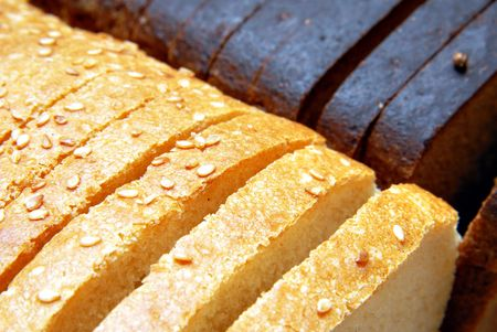 boodle: Loaf brown and white breads, cut hunks
