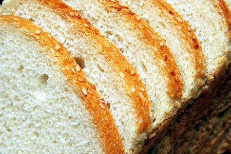 boodle: Loaf of wheat bread, cut hunks Stock Photo