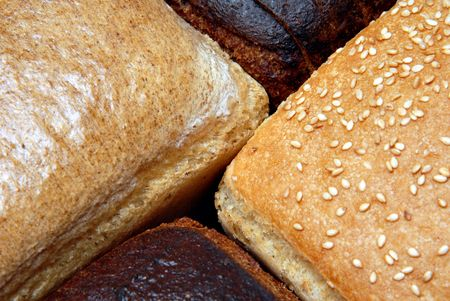 two loaves of wheat bread and two loaves of brown bread by a large plan photo