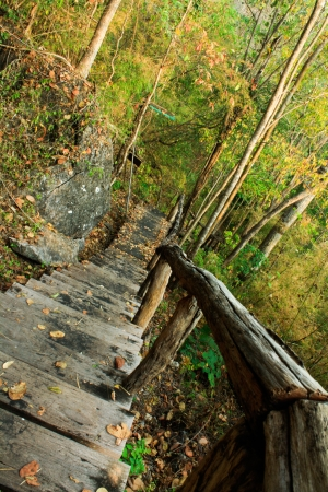 Staircase on a hilltop at Huay Mae Kamin Stock Photo