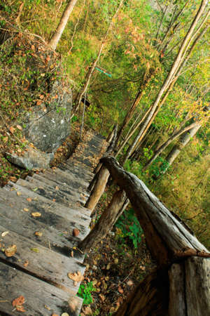 county somerset: Staircase on a hilltop at Huay Mae Kamin Stock Photo