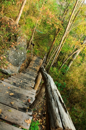 Staircase on a hilltop at Huay Mae Kamin II Stock Photo