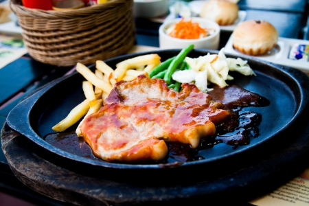 Grilled pork steak with french fries I