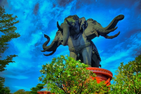 Thailand Erawan museum elephant temple HDR Stock Photo - 19166440