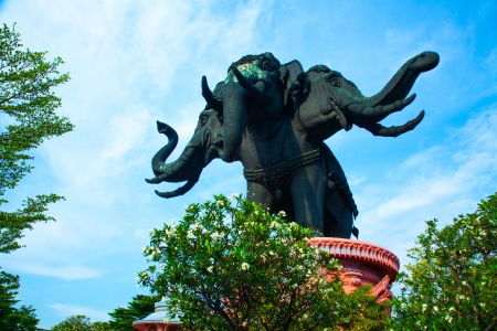 Thailand Erawan museum elephant temple Stock Photo