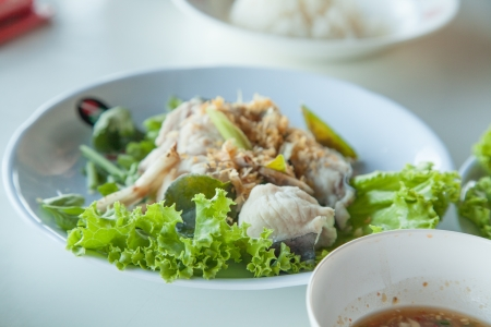 pra: Boll Cat Fish With Spicy Dip  pra kang louk jim