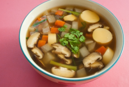 mild soup with vegetables,bean curd II photo