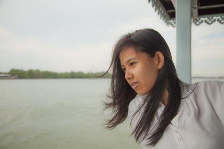Asian women looking away photo