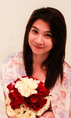 sweet woman with flowers II
