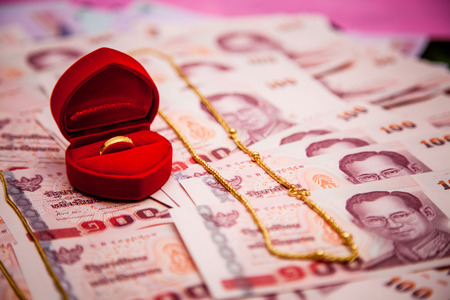 bride price money in Traditional Thai wedding ceremony II Stock Photo