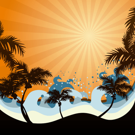 tropics: Sunset Illustration