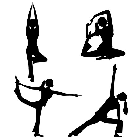YOGA silhouet Vector Illustratie
