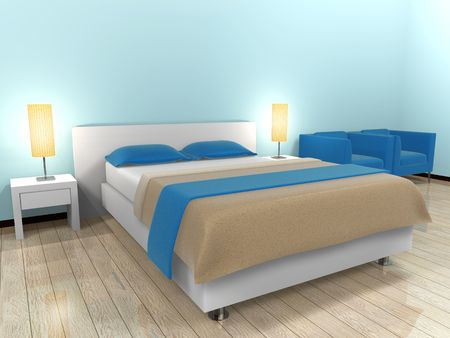 Bed Blue Stock Photo - 6782928