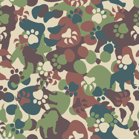 survive: Seamless Dog Camouflage Pattern Illustration