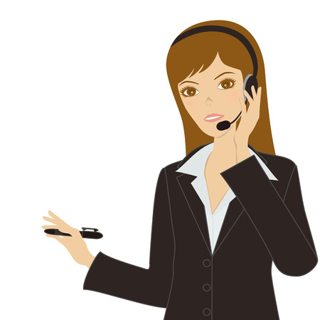 headset business: Donna di affari  Vettoriali