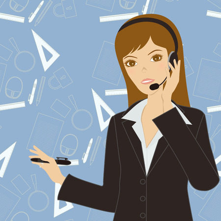 face with headset: Business Women