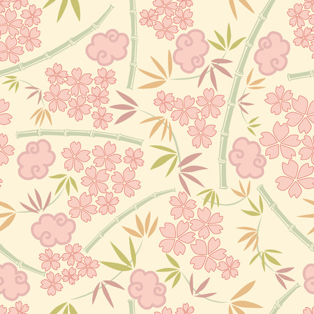 Japanese plants pattern Vector