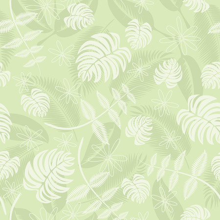 hawaii islands: Seamless tropical leafs pattern Illustration