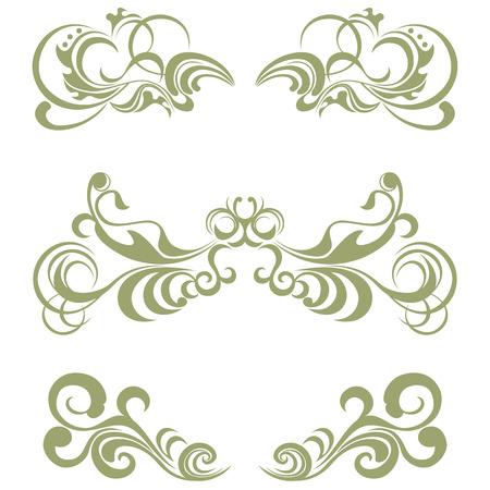 Floral elements set  イラスト・ベクター素材