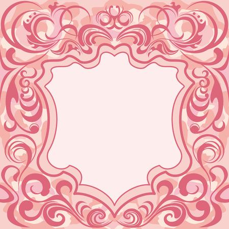 pink bushes: Abstract pink floral frame Illustration