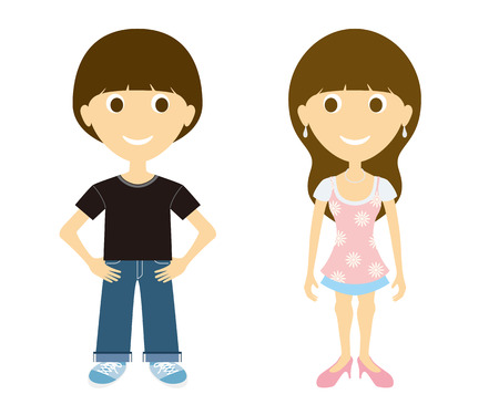 Young man and women Vector