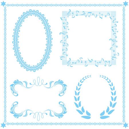 抽象的なブルー フレーム セット