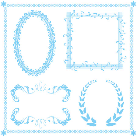Abstract blue frame set Vector