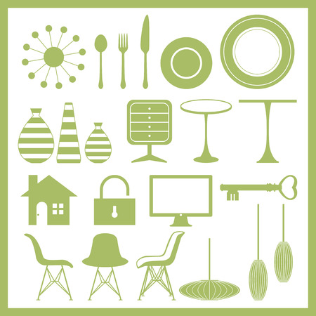 icon key: Furniture and home goods icon set Illustration