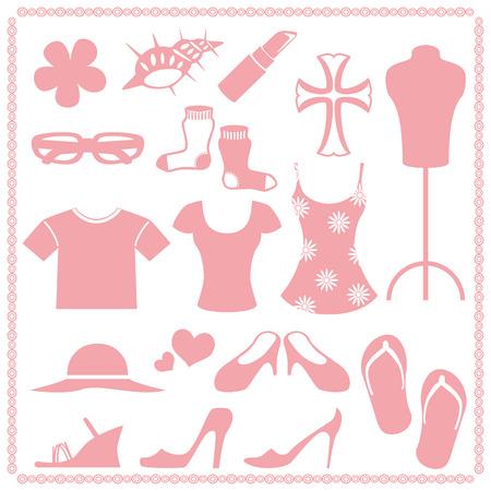 女性   ファッションのアイコンを設定  イラスト・ベクター素材