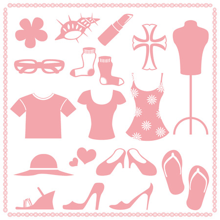Women fashion icon sets Ilustracja