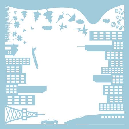 city live: Town frame Illustration