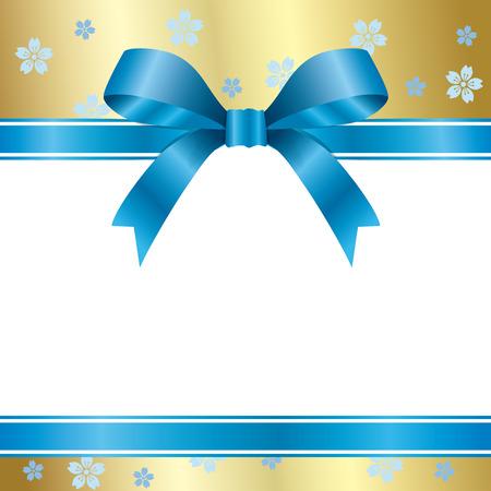 feliz: Blue floral ribbon  Illustration