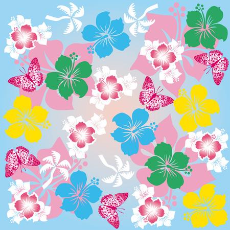 Hibiscus Pattern  Vector