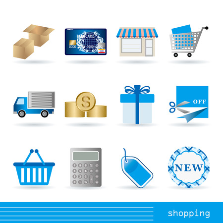 ecomerce: Shopping icons set Illustration