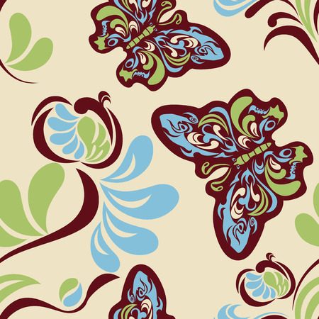 handwork: Seamless flower and butterfly pattern