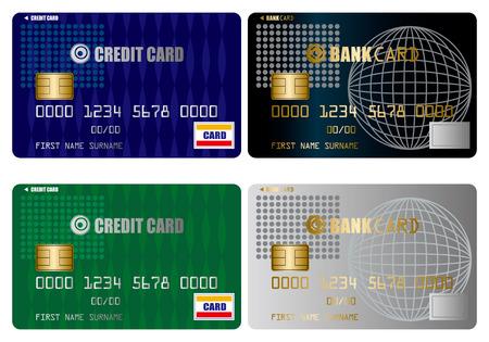 visa credit card: Credit card set Illustration