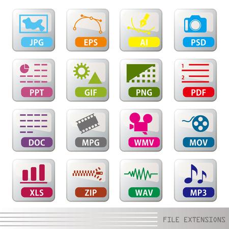 sobresalir: Conjunto de iconos de extensiones de archivo  Vectores