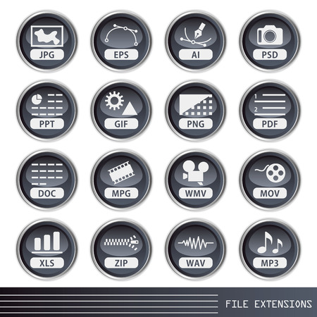 png: File extensions icons set