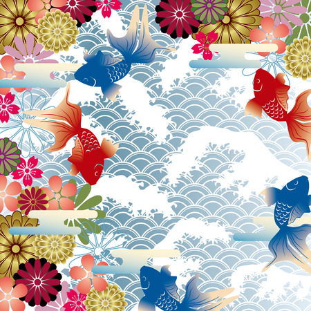 chinese flower: Japanese style background