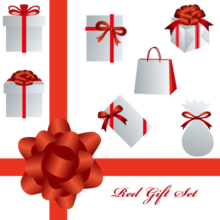 This graphic is red gift set. Illustration  Vector