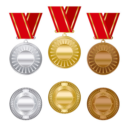 conquering: Gold silver and bronze award medals set.